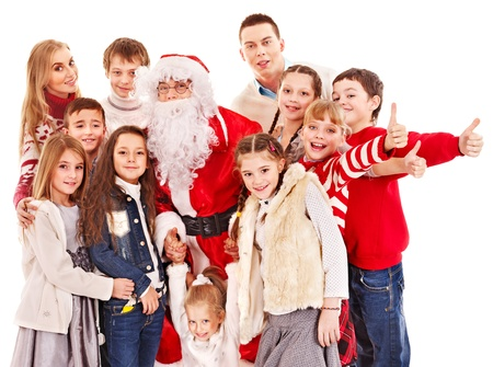 Group of children with Santa Claus.  Isolated. Stock Photo - 16610245