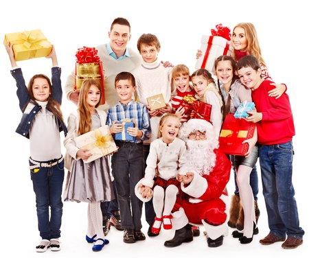 christmas costume: Group of children with Santa Claus.  Isolated. Stock Photo