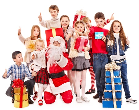 children party: Group of children with Santa Claus.  Isolated. Stock Photo