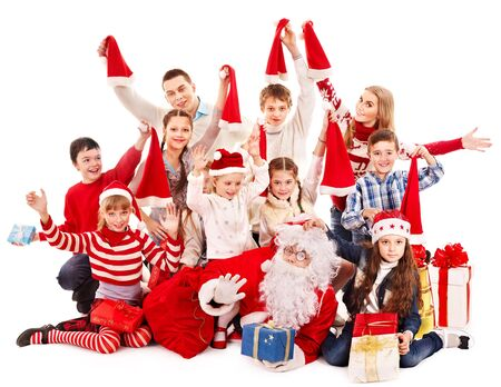 winter party: Group of children with Santa Claus.  Isolated. Stock Photo