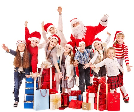 Group of children with Santa Claus.  Isolated. Stock Photo - 16613150