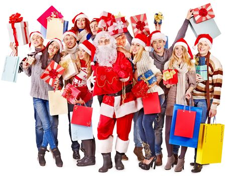 Group people and  Santa holding gift box near  Christmas tree. Stock Photo - 16595024