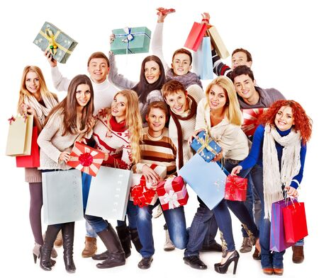 Women in Santa hat holding sign saying sale and gift box. Stock Photo - 16610277