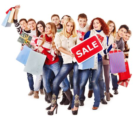 Group people with board sale and shopping bag. photo