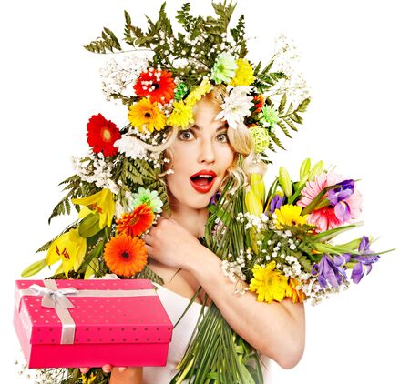 Woman with gift box and flower. Isolated. photo