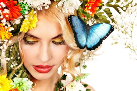 morpho menelaus: Face of woman with make up and butterfly. Isolated.