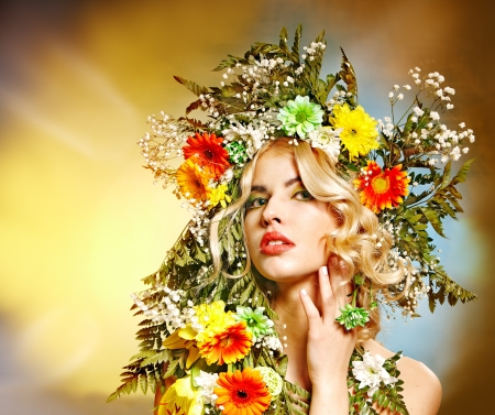 Portrait of woman with flower hairstyle. Stock Photo - 17541087