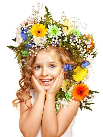 Little girl with flower hairstyle. Isolated. photo