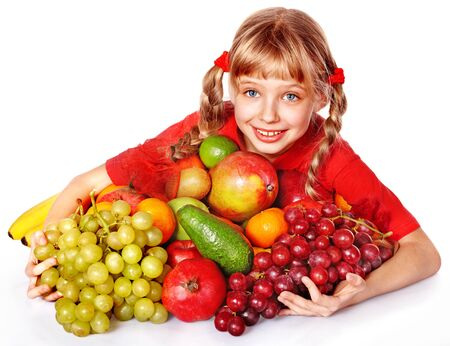 kids eating healthy: Child with group fruit and vegetable. Isolated.