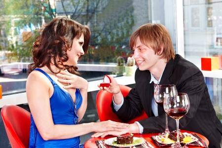 propose: Man propose marriage to girl. Loving couple.