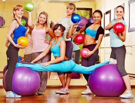 Group women in aerobics class. Stock Photo - 17423490