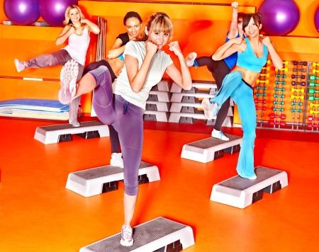 class rooms: Women group in aerobics class.