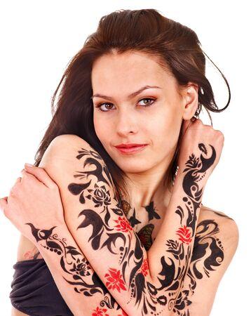 tatouage sexy: Jeune femme avec l'art corporel. Isol�. Banque d'images