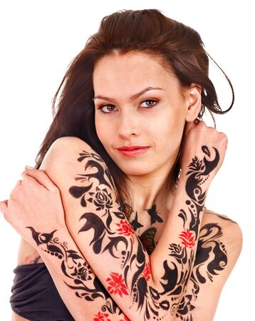 Young woman with body art . Isolated. photo