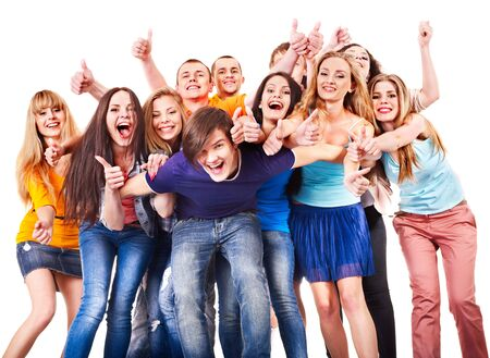 Group people isolated thumb up. Stock Photo - 17423628