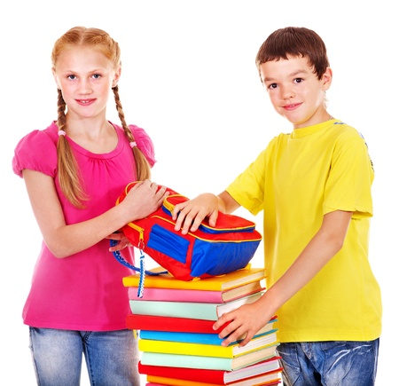 Couple of teen school child with book.  Isolated. Stock Photo - 17423626