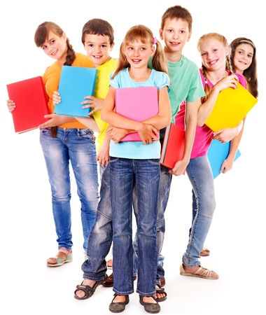 Group of happy teen school child with book.  Isolated. Stock Photo - 17423579