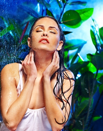 sexy shower: Wet woman with water drop. Nature.