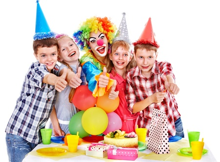 Birthday party of group teen with clown and cake. Isolated. Stock Photo - 17532166