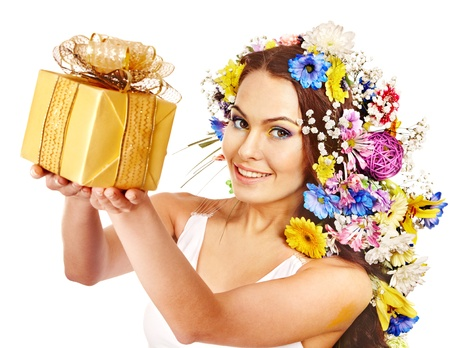 Woman with gift box and flower. Isolated. Stock Photo - 17532051