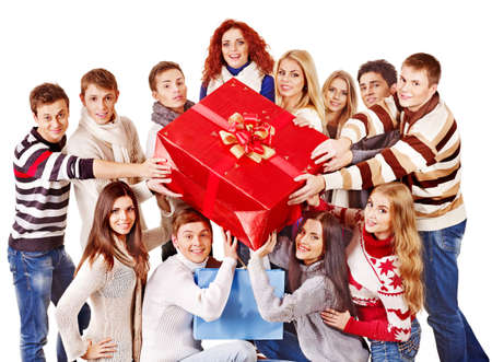 Group people holding red gift box. Isolated. photo