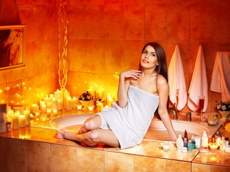 Woman relaxing at home luxury bath. Stock Photo - 17572850