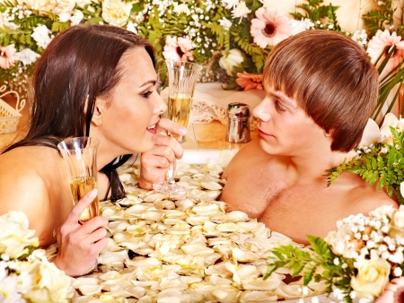 Couple relax  at luxury spa with flower. Stock Photo - 17533518