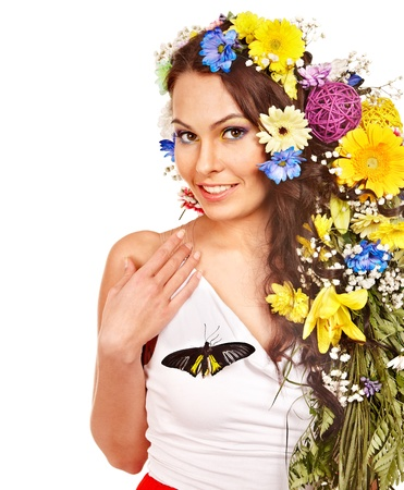 morpho menelaus: Mujer con flores y mariposas. Aislado. Foto de archivo
