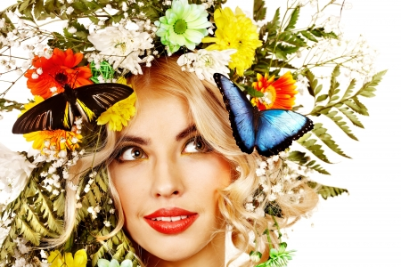 Woman with  flower and  butterfly. Isolated. Stock Photo - 17753909