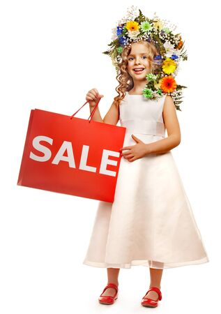 Little girl with flower hairstyle. Isolated. Stock Photo - 17753807