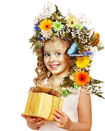 Little girl with gift box and flower. Isolated. Stock Photo - 17753828