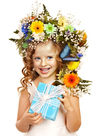 Little girl with gift box and flower. Isolated. Stock Photo - 17753870
