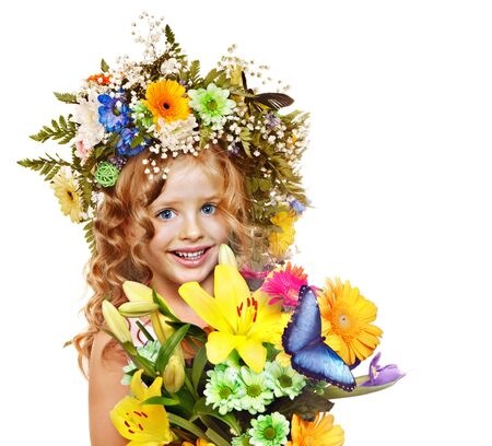Little girl with flower hairstyle. Isolated. Stock Photo - 17753819