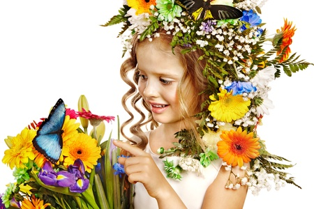 Little girl with flower and butterfly . Isolated. Stock Photo - 17753900