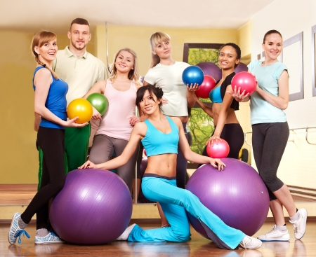 Group people in aerobics class.  Fitness ball. photo