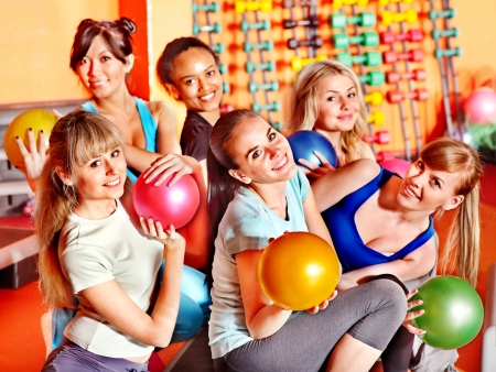 Women group in aerobics class.  Fitness ball. Stock Photo - 17698312