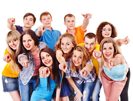 youth group: Group sport fan cheer for. Isolated. Stock Photo
