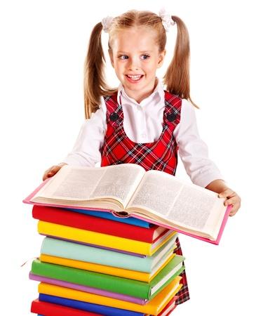 schoolgirl uniform: Happy child with stack book. Isolated.