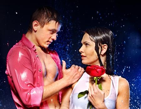 Couple  under  water drop. Valentine day. photo