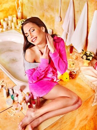 women bathing: Woman relaxing at home luxury bath.