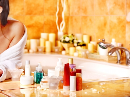 bubble bath: Woman relaxing at home luxury bath.