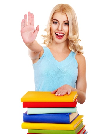 stop gesture: Student with stack book showing thumb up. Isolated.