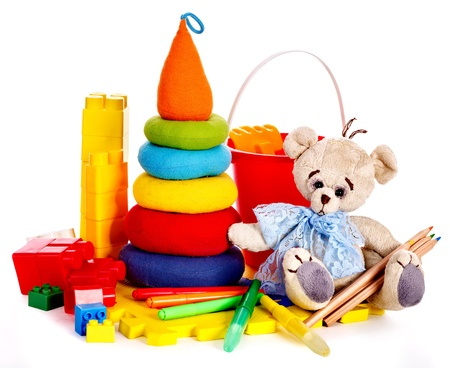 playthings: Children toys with teddy bear. Isolated.