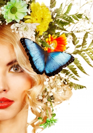 Face of woman with make up and butterfly. Isolated. Stock Photo - 17966852