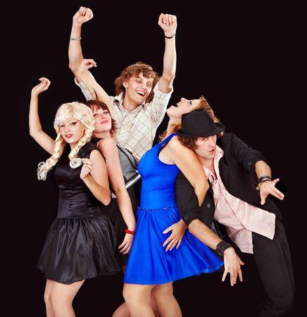 Happy dancing group people. photo