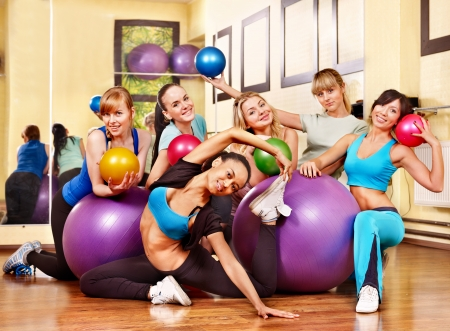 Group women in aerobics class. photo