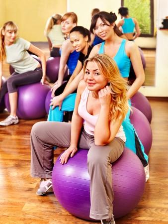 Women group in aerobics class.  Fitness ball. Stock Photo - 17967034