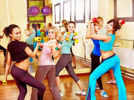 Group women in aerobics class. photo