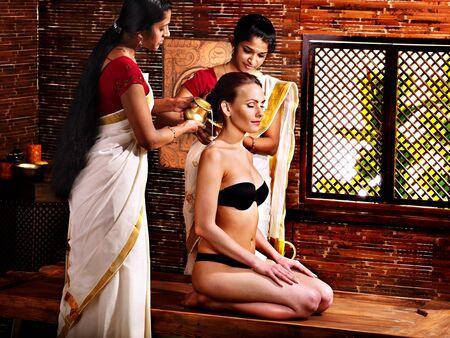 panchakarma: Young woman having ayurveda spa treatment. Stock Photo
