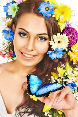 morpho menelaus: Woman with  flower and  butterfly. Isolated.